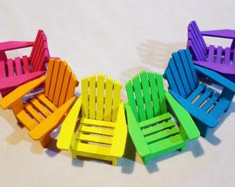 1 Miniature Adirondack Chair, On Shelf Miniature Beach Chair, Fairy Garden,  Wedding Cake