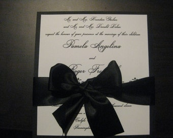 BLACK TIE Layered 6x6 Black and White Damask Wedding Invitation with Ribbon Bow