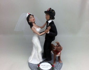 Custom Handmade Nurse and Firefighter Wedding Cake Topper from your photos and ideas
