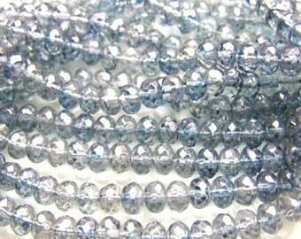 Transparent Blue Luster Faceted Rondelle Beads  25