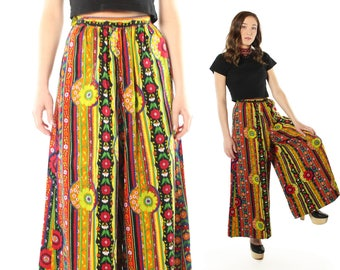 Vintage 60s 70s Wide Leg Pants Palazzo High Waisted Culottes Capri Bell Bottoms Trousers 1960s 1970s X Small XS Hippie Boho Festival