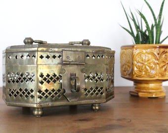SALE Vintage Large Brass Cricket Box