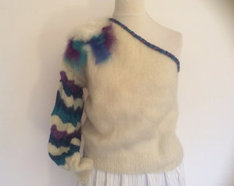 Vintage designer hand knit sweater off the shoulder white mohair with turquoise,blue and purple lurex yarn with feather motif size small