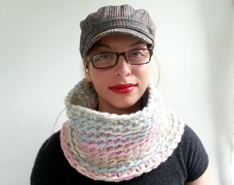 Chunky Cowl Crocheted in Baby Blue, Baby Pink, and Cream
