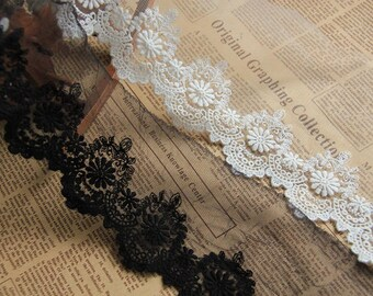 Ribbons trims lace embroidery tulle ivory x1yrd LXG283I 13cm