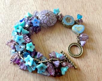 Purple and Blue Cluster floral bracelet,Ceramic Art bead focal floral clustered bracelet,Purple floral bracelet handmade by Floating Vintage