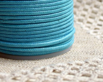 2mm Waxed Cotton Cord Turquoise 25 Meter Spool