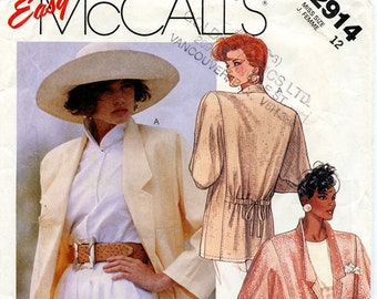 Vintage 1987 McCalls 2914 Women's Long Unlined Blazer Jacket UNCUT Sewing Pattern Size 12 Bust 34 S Drawstring Back Long Sleeve Notch Collar