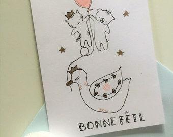 """Folded card  good celebrate ,""""Choumi et Michou : bonne fête"""""""
