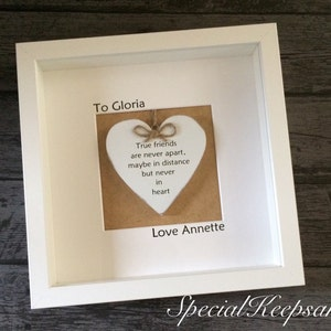 Shabby Chic Friendship Distance Frame Heart Quote Gift Momento Love Heart Rustic Grandaughter Grandma