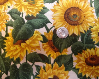 Large yellow  SUNFLOWERS on white cotton, FABRIC No 3
