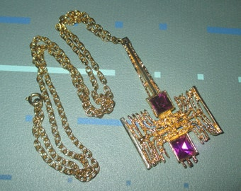 Vintage MOD Mid Century Abstract Design and Purple Stone Pendant Necklace