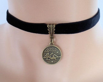 black velvet choker, virgo choker, virgo necklace, stretch ribbon, zodiac charm, antique bronze