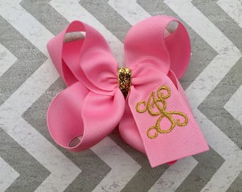 Pink and Gold Monogrammed Boutique Hair Bow