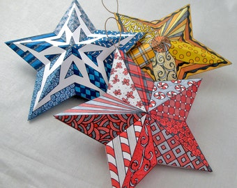 Holiday Ornaments - 3D Paper Star Ornaments - Zentangle Christmas Ornaments
