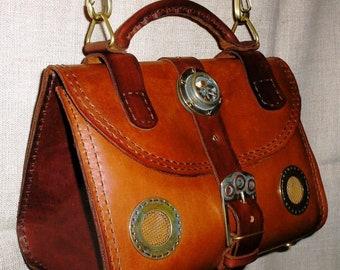 """Steampunk bag """"Travel handbag for steamlady""""."""