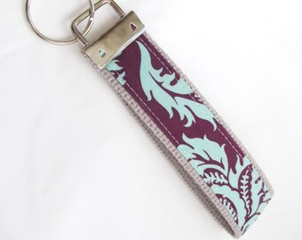 Wristlet Key Fob Key Chain in Aviary II Damask in Plum - Fabric Keychain