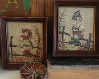 Vintage Hummel Cross Stitched Wall Hangings, Set of 2