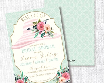 Wear A Hat Bridal Shower Invitation, Printable, Hat Shower Invite, Tea Party, Brunch, Wedding, Luncheon, Southern, Bachelorette, Derby