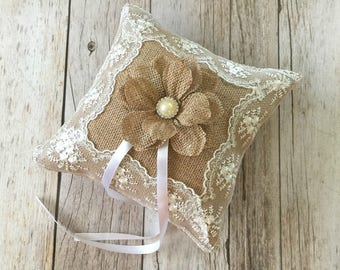 Ring bearer pillow, natural burlap and lace wedding ring bearer pillow.
