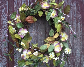 Grapevine Wreath with Purple and Yellow Flowers, Wedding Centerpiece, Wedding Wreath, Shabby Chic Wreath, Easter Wreath, Free Shipping