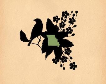 Missouri State Bird & Flower - Print of Original Papercut