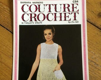 Vintage  Barbara Warner Couture Crochet Dress Pattern in Twilley's 'Stalite' design no. C84- 1960/70s
