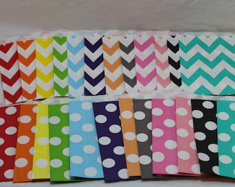 24 paper goodie favor bags chevron polka dots you pick black blue pink red orange yellow green