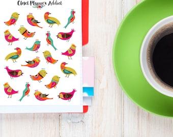 Colourful Birds Planner Stickers | Birds Stickers | Bird Lovers Stickers | Cute Birds Stickers | Pretty Birds Stickers | Bird Art (S-185)