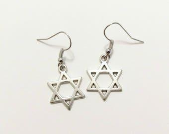 Silver Star Of David Earrings, Star Of David, Jewish, Messianic