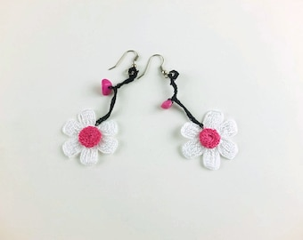 Gift for Her Flower Earrings Crocheted, Dangle Earrings, Floral Earrings, Flower Jewelry,