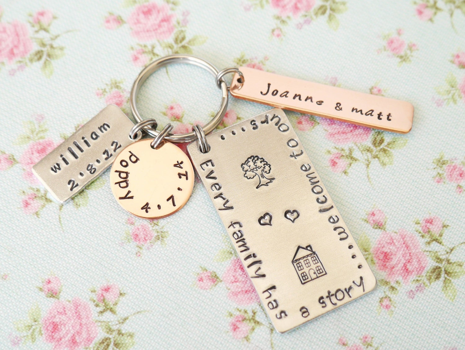 Personalised Mothers Day Gift Idea Our Family Story Keychain
