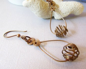 Copper Tear Drop Hoops, Copper Wire Cages Earrings, Copper Hoops Earrings, Copper Earrings, Copper Spirals Earrings, Handmade Copper Hoops,