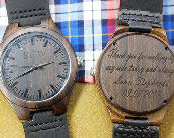 Wooden Watch Groomsmen Gifts Wood Watch for Men Personalized Watch Boyfriend Gift Husband Gift Mens Watch Anniversary Gifts for Men Birthday