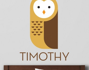 Owl Wall Decal, Owl Decal, Owl Wall Sticker, Forest Owl Decal, Custom Name Decal, Personalized Decal, Owl Name Decal