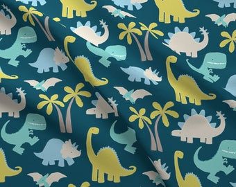 Dinosaur Fabric - Dinosaur Pattern - Blue By Nick Neuman - Dinosaur Navy Green Baby Dino Nursery Cotton Fabric By The Yard With Spoonflower