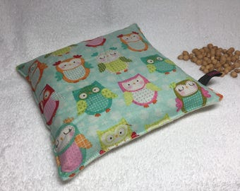 "Owl Cherry Pit Pillow Pad for Warm Cold Therapy Heating Cooling and Balancing Boo Boo made with Cotton Fabric 14oz ca 7""x7"" Large Pillow"