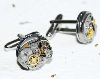 BULOVA Men Steampunk Cufflinks - Rare Silver TEXTURED Vintage Watch Movement Men Steampunk Cufflinks Cuff Links Men Fathers Day Gift for Men