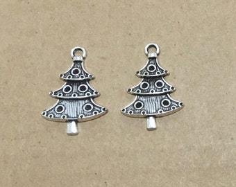Christmas Tree Charms x 5 Silver Pendant Finding 30mm Scrapbooking Jewellery #117