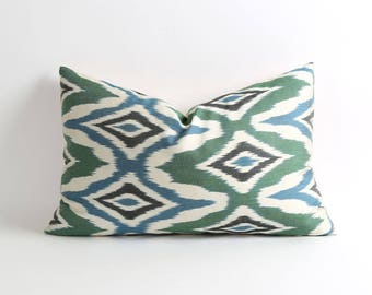 ikat pillows, blue green pillows, 14x22 modern pillow cover, blue, green, white, black lumbar decorative pillows