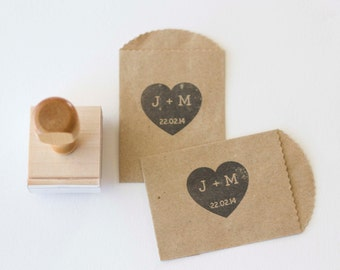 Heart with Initials and Date Custom Stamp 1.5 x 1.5""