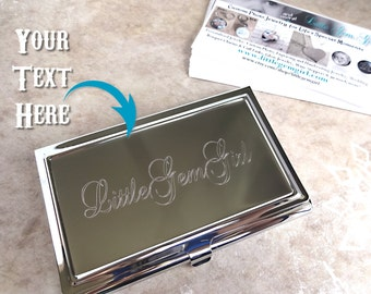 Engraved card holder etsy business card holder custom engraved personalized with your name company logo or text metal colourmoves