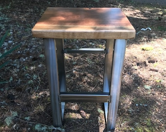 Industrial Walnut Stool. Bar Height Stool. Counter Height Stool. Modern Stool. Live Edge Stool. Rustic Stool.