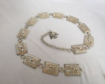 Vintage, Silver, Rectangle Concho Belt, Stamped, with Thunderbird Charm/Southwestern
