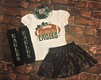 Philadelphia Eagles, baby fan gear, I love the Eagles, Eagles football, Eagles baby, Girls Football Outfit, Eagles Outfit