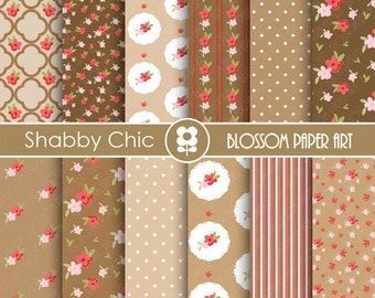 Digital Paper Brown Digital Paper Floral Scrapbooking Paper Pack, Cottage, Shabby Chic, Brown Red Flowers - 1735