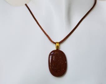 Sparkly Goldstone Pendant Necklace