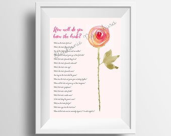 Digital Print - Digital Download - How well do you know the bride - Watercolour Flower - x2 Jpeg (A4/A5)  x2 PNG (A4/A5)
