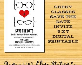 Geeky Glasses Save the Date DIY Digital Printable Invite