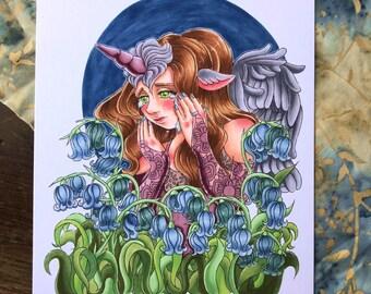 Unicorn Portrait with Bluebell Flowers, Fine Art Giclee Print, Unicorn Fantasy Art, Sad / Blue / Heartbroken Art, Gray and Blue Unicorn